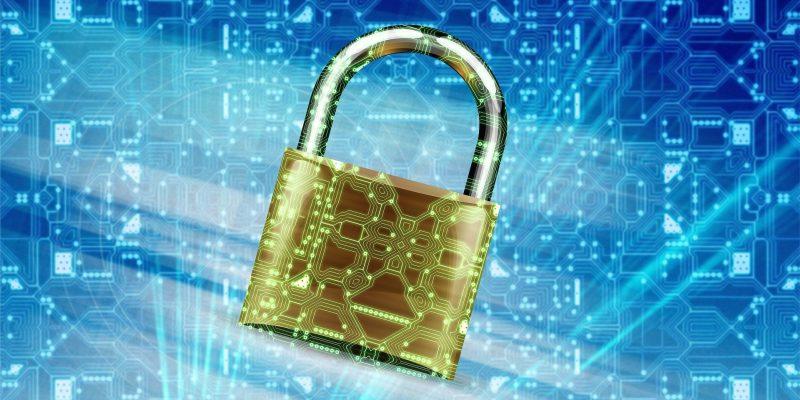 Goldenes Schloss vor blaumen Hintergrund. Im Vordergrund sind viele verschiedenen Datenverbindungen angedeutet.